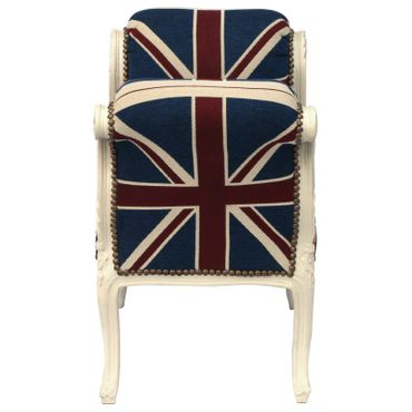 Baroque style Bench with armrest, White wood Frame with UK Flag cushions – image 3