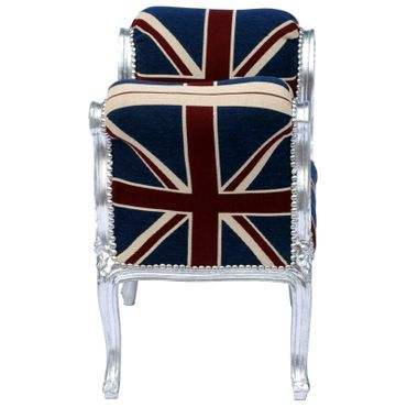 Baroque style Bench with armrest, Silver wood Frame with UK Flag cushions – image 3
