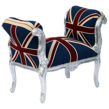 Baroque style Bench with armrest, Silver wood Frame with UK Flag cushions – image 4