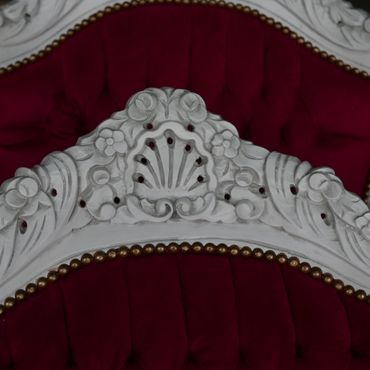 Classic Red Velvet Throne Armchair Baroque Style Hand Carved White Wood Frame – image 3