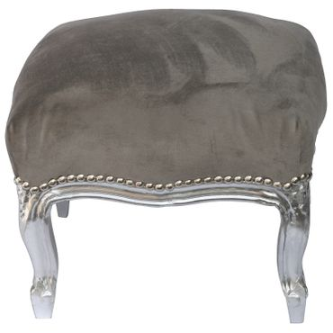 Baroque Style Foot Stool, Silver Wood Legs with Grey Velvet Cushions – image 3