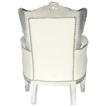 Baroque Throne Armchair Child Size Silver Wood Frame White Leatherette Cushions – image 4
