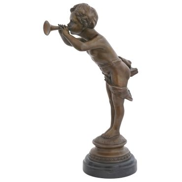 Child blowing trumpet as Trumpeter boy in bronze sculpture for decoration – image 1