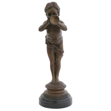 Child blowing trumpet as Trumpeter boy in bronze sculpture for decoration – image 4