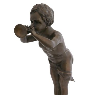 Child blowing trumpet as Trumpeter boy in bronze sculpture for decoration – image 5