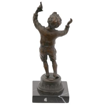 Toddler with bird bronze sculpture timeless art collection – image 3