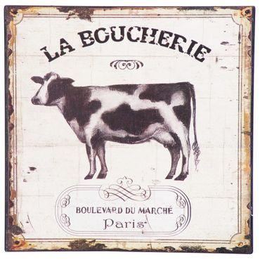 Tin sign cow LA BOUCHERIE butcher french wall decoration