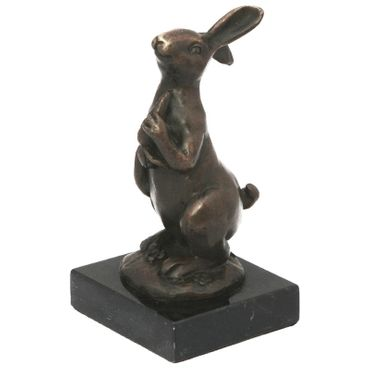 Antique bronze statue of rabbit with carrot  – image 1