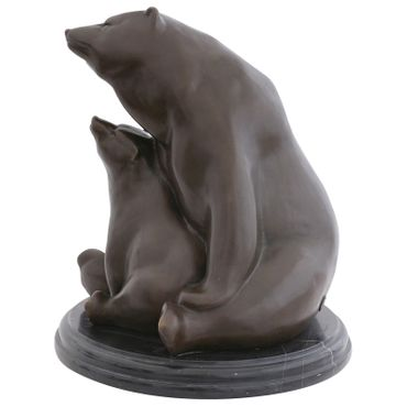 Mother Polar bear with baby bear as Bronze sculpture for art decoration or gift representing security – image 2