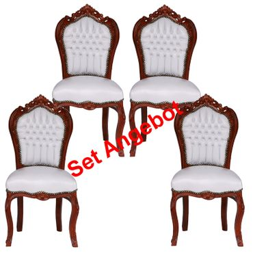 Set of 4 Beautiful Hand Crafted Chairs White Leatherette Brown Wood Frame