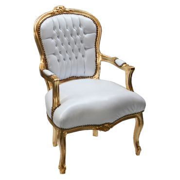 Accent Chair BONI - white synthetic leather and golden frame – image 3