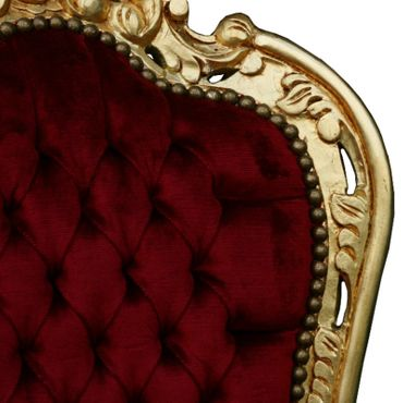 Accent Chair, gold-leafed solid wood burgundy velvet   – image 6