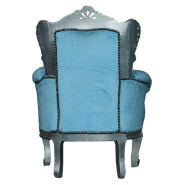 Cool Blue Velvet Child Throne Silver Wooden Frame Baroque Furniture – image 4