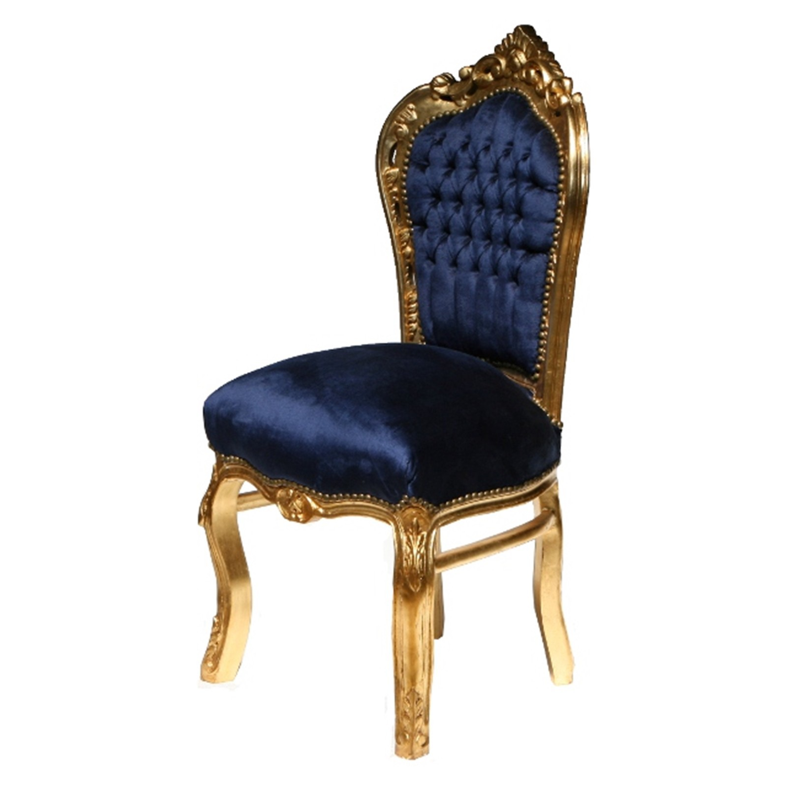 Dining Room Chairs Gold Leafed Solid Wood Navy Blue Velvet Bild 3