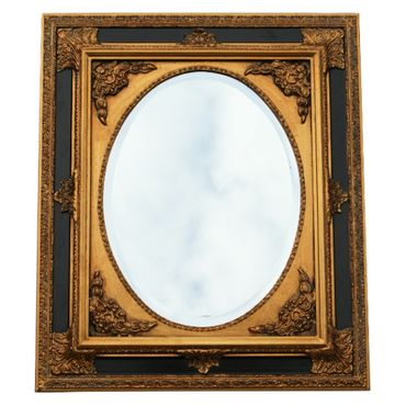 Antique baroque art wall mirror in oval ornate frame in gold and black – image 1