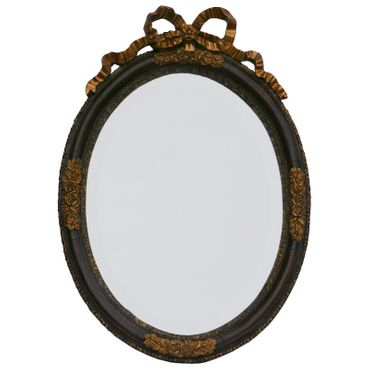 Antique Baroque wall mirror in vintage oval shape in dark brown and gold for decoration – image 1