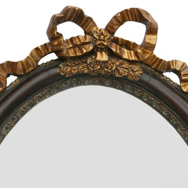 Antique Baroque wall mirror in vintage oval shape in dark brown and gold for decoration – image 2