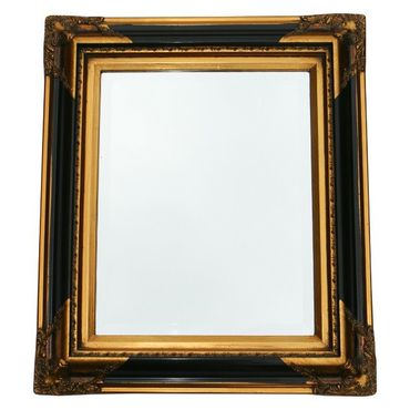 Gold plated bathroom mirror with solid wood crystal glass in antique style – image 2