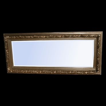 Antique baroque style standing rectangular wall mirror in wooden frame – image 1