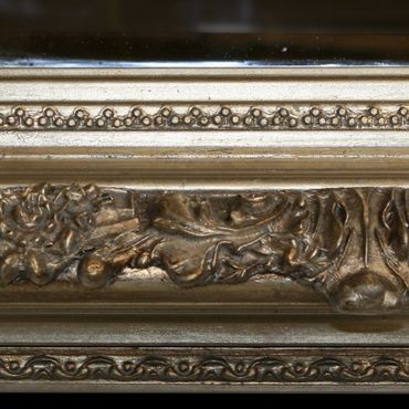Antique baroque style standing rectangular wall mirror in wooden frame – image 3