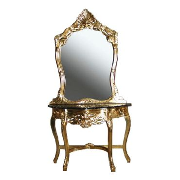 Antique dressing table with mirror console for wall – image 1