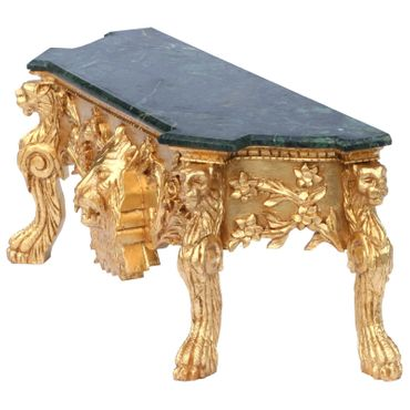 Gold baroque console table with lion's head and marble plate in green color – image 3