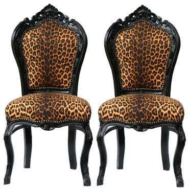 Couple of Beautiful Leopard Print Solid Wood Hand Crafted Dining Room Chairs – image 1