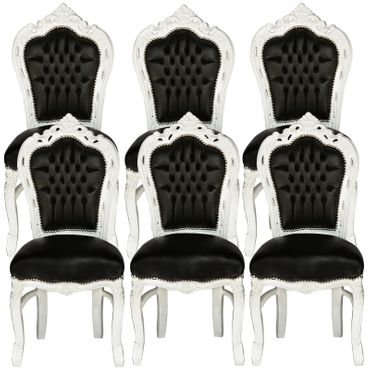 Group of 6 Baroque Style Dining Room Chair Black Leatherette Cushioning White Frame – image 1