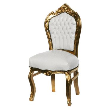 White dining chairs, gold, white synthetic leather – image 2