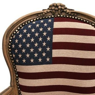 American Flag Baroque Armchair Brown Hand Crafted Wood Frame – image 4