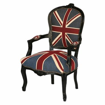 Armchair UK Flag Design Baroque Living Room Furniture Black Wood Frame – image 4