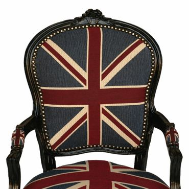 Armchair UK Flag Design Baroque Living Room Furniture Black Wood Frame – image 5