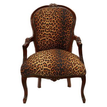 African Wild Cat Print Armchair Solid Wood Brown Frame Baroque Furniture