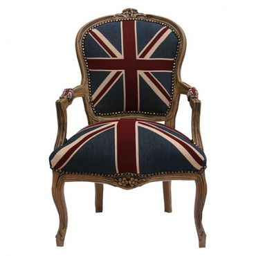 Armchair UK Flag Design Baroque Living Room Furniture Brown Wood Frame – image 1