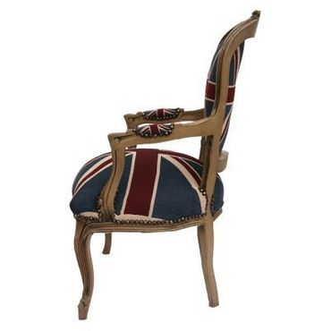 Armchair UK Flag Design Baroque Living Room Furniture Brown Wood Frame – image 4
