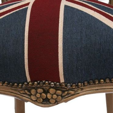 Armchair UK Flag Design Baroque Living Room Furniture Brown Wood Frame – image 6