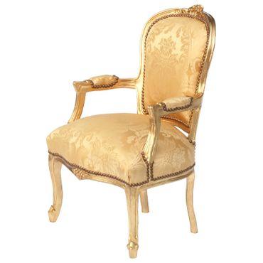 Baroque Armchair GOLDI - Gold Flower Pattern & Wood Frame – image 2