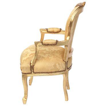 Baroque Armchair GOLDI - Gold Flower Pattern & Wood Frame – image 3