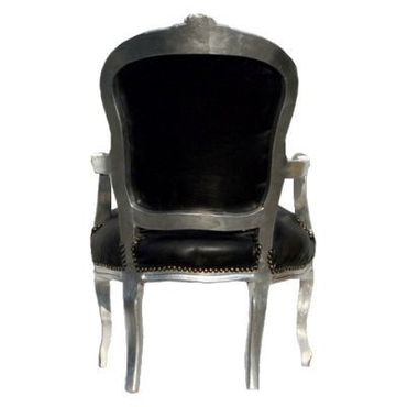Classy Black Leatherette and Silver Wood Chair with Armrest Baroque Furniture – image 3