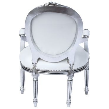 Classic Baroque Medallion Armchair White Leatherette Silver Real Wood Frame – image 4