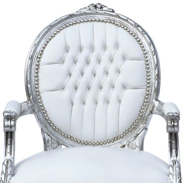 Classic Baroque Medallion Armchair White Leatherette Silver Real Wood Frame – image 5