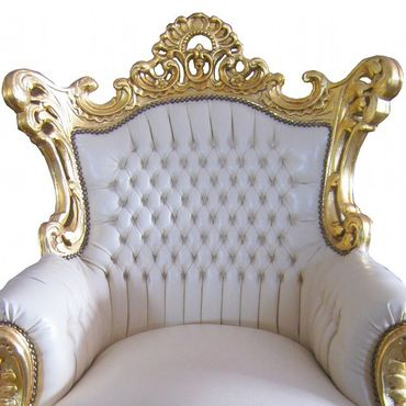 Majestic Baroque Throne White Leatherette Gold Real Wood Frame – image 2