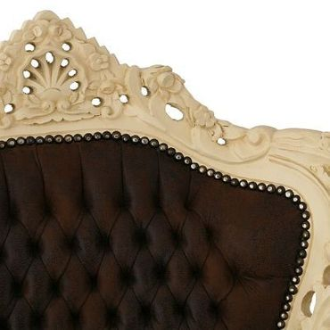 Imperial Throne Armchair Beige Wood Frame Brown Leatherette Cushioning  – image 5