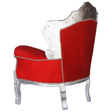 Flamboyant Red Throne Armchair with Silver Real Wood Frame Baroque Furniture – image 4