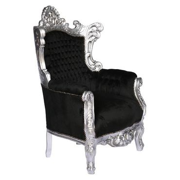 Baroque style Throne Armchair, Silver wood Frame with Black Velvet cushions – image 2