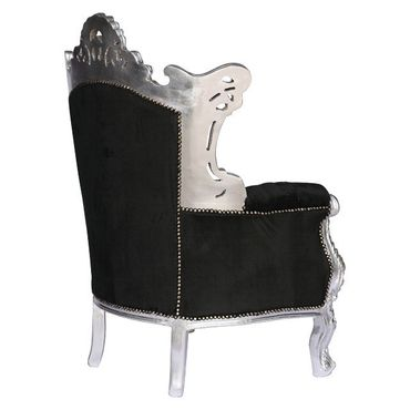 Baroque style Throne Armchair, Silver wood Frame with Black Velvet cushions – image 4