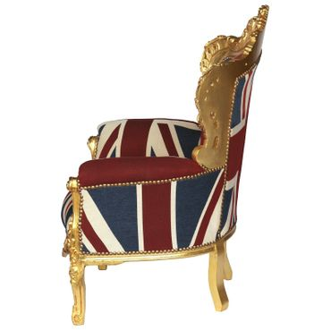 UK Flag Baroque Throne with Golden Frame Solid Wood Living Room Bedroom – image 3