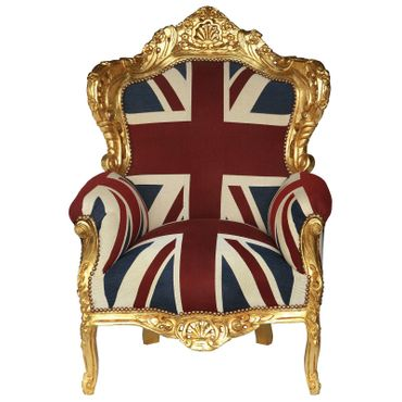 UK Flag Baroque Throne with Golden Frame Solid Wood Living Room Bedroom – image 1