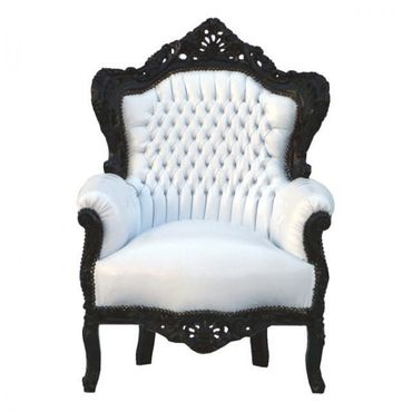 Fashionable Throne Armchair White Leatherette Black Wood Frame – image 1
