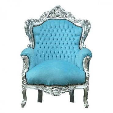 Bright Blue Velvet Silver Wood Frame Living Room Armchair Baroque Bedroom Design – image 1